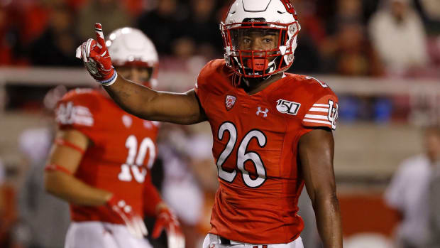Utah Utes defensive back Terrell Burgess (26) reacts to breaking up a play against the Washington State Cougars in the first quarter at Rice-Eccles Stadium.