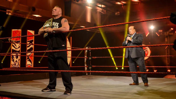 WWE's Brock Lesnar and Paul Heyman in the ring on Raw