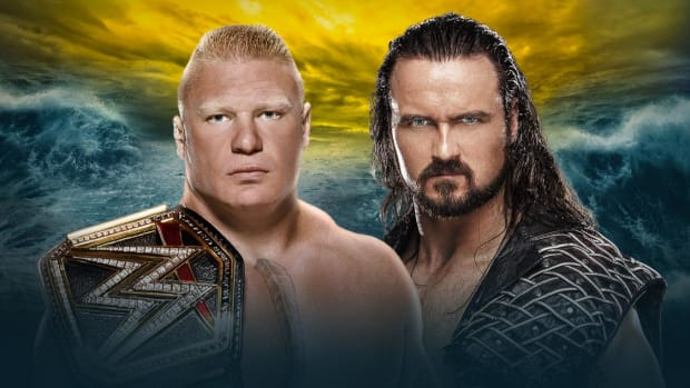 WrestleMania 36 promotional image of WWE's Brock Lesnar and Drew McIntyre
