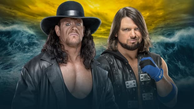 WWE WrestleMania 36 promotional image featuring The Undertaker and AJ Styles