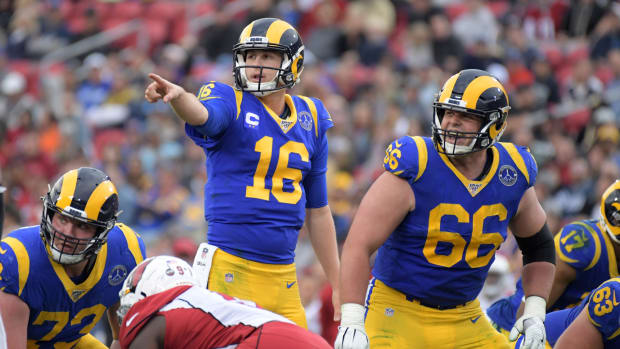 Jared Goff plays in the third quarter of the Rams' final home game at the Los Angeles Memorial Coliseum.