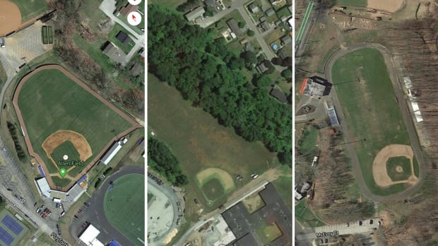 Google Earth screenshots of strange baseball fields