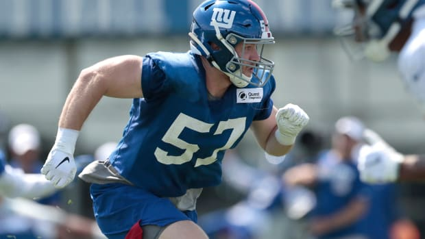 Jul 25, 2019; East Rutherford, NJ, USA; New York Giants inside linebacker Ryan Connelly (57) participates in drills during the first day of training camp at Quest Diagnostics Training Center.