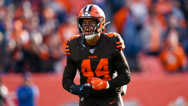 Nov 3, 2019; Denver, CO, USA; Cleveland Browns linebacker Sione Takitaki (44) before the game against the Denver Broncos at Empower Field at Mile High. Mandatory Credit: Isaiah J. Downing-USA TODAY Sports