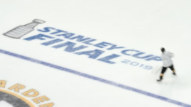 The NHL's Stanley Cup Final logo painted on the ice