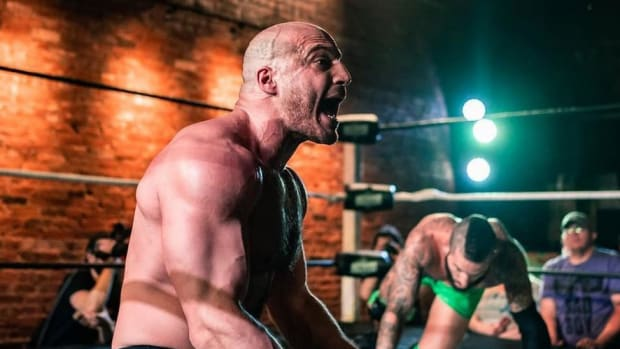 Independent wrestler Chris Dickinson in the ring for Beyond Wrestling