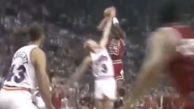 Rare baseline angle of Michael Jordan making 'The Shot' against the Cleveland Cavaliers in the 1989 NBA playoffs
