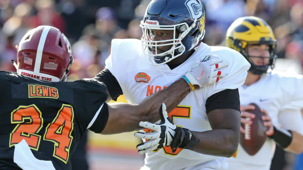 North offensive tackle Matt Peart of Connecticut (65) in the first half of the 2020 Senior Bowl college football game at Ladd-Peebles Stadium.