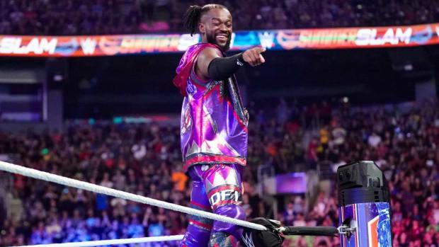 WWE's Kofi Kingston makes his entrance to the ring at SummerSlam