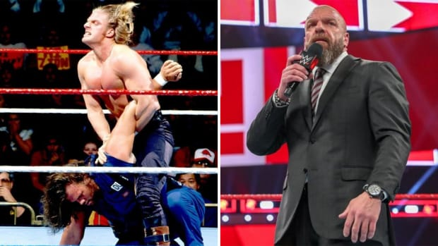 Side-by-side image of WWE's Triple H in 1996 and 2019