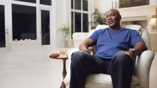 Michael Jordan sits down during The Last Dance documentary filming.
