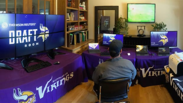 Vikings GM Rick Spielman's virtual draft room