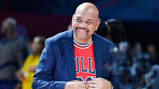 ESPN's Michael Wilbon at the NBA Celebrity All-Star Game wearing a Michael Jordan jersey