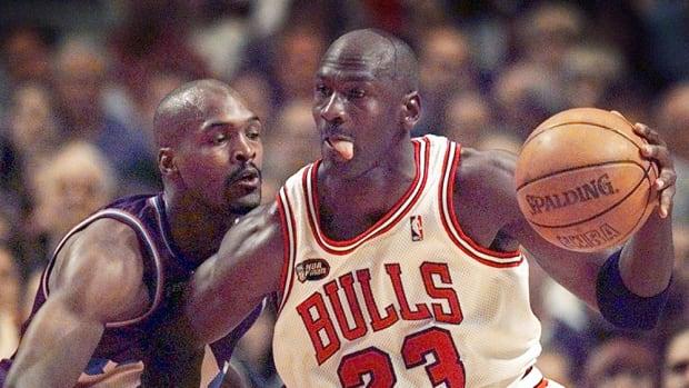 Chicago Bulls legend Michael Jordan drives to the basket vs. the Utah Jazz in the 1998 NBA Finals.
