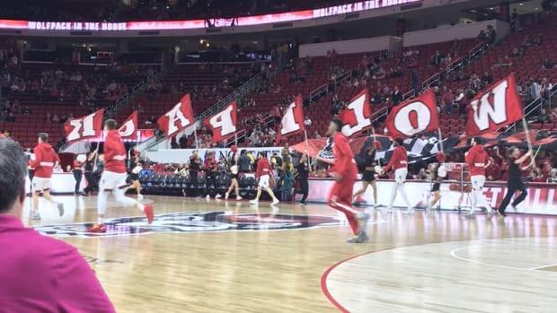 Wolfpack cheerleader flags