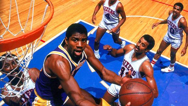 Magic Johnson drives during the 1980 NBA Finals.