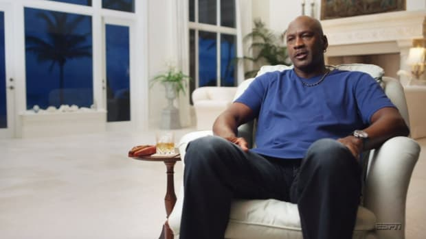 Screenshot from ESPN's 'The Last Dance' showing Michael Jordan's tequila glass