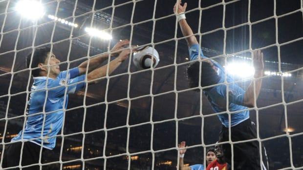 Luis Suarez's handball saves Uruguay in the 2010 World Cup