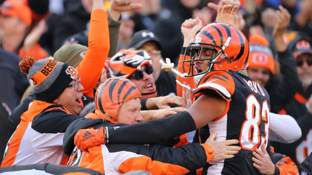 Cincinnati Bengals wide receiver Tyler Boyd (83) celebrates with fans following his second quarter touchdown against the Pittsburgh Steelers at Paul Brown Stadium.