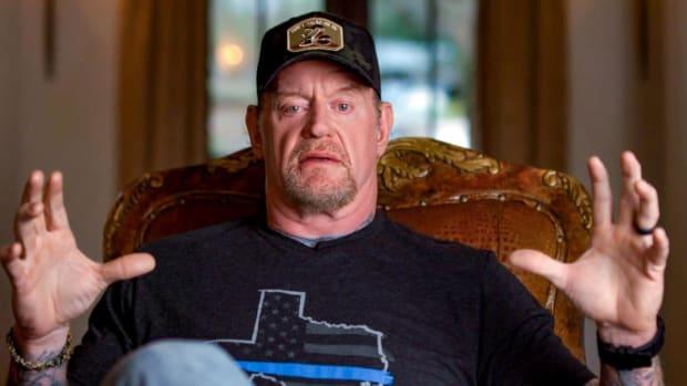 "Screenshot of Mark ""The Undertaker"" Calaway speaking during WWE's ""The Last Ride"" documentary"