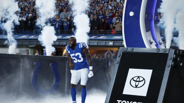 Indianapolis Colts linebacker Darius Leonard enters before a 2019 home game at Lucas Oil Stadium.