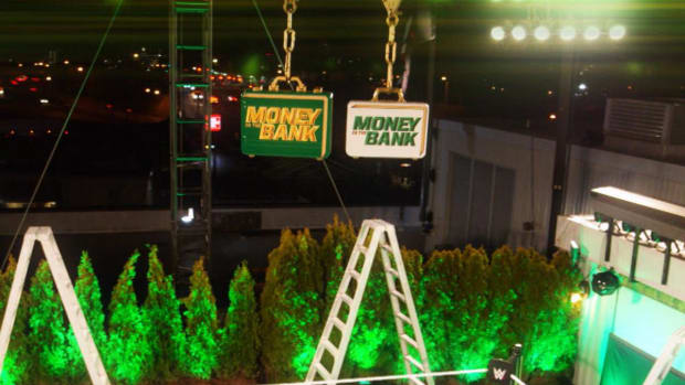 A look at the set of WWE's Money in the Bank 2020 pay-per-view on top of the company's Stamford, Conn., headquarters, Titan Towers