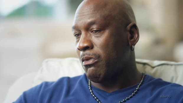 "Screenshot from final scene of Epsiode 7 of ESPN's ""The Last Dance"" documentary on Michael Jordan"
