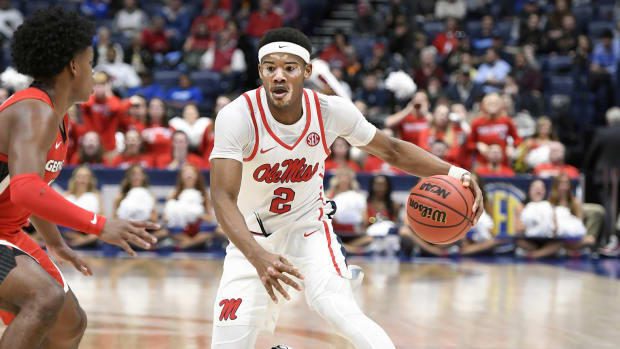 Mississippi Rebels guard Devontae Shuler (2) dribbles against the Georgia Bulldogs during the second half in the SEC conference tournament at Bridgestone Arena. Mandatory Credit: Steve Roberts-USA TODAY Sports