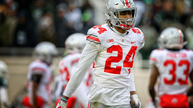 Ohio State Buckeyes cornerback Shaun Wade (24) reacts during the second half of a game against the Michigan State Spartans at Spartan Stadium.