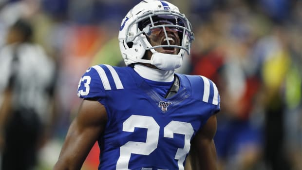 Indianapolis Colts nickel cornerback Kenny Moore II reacts to a play in a 2019 home game at Lucas Oil Stadium.