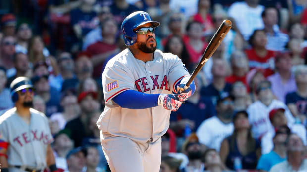 Texas Rangers' Prince Fielder swings the bat