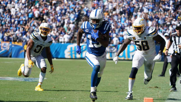 Indianapolis Colts wide receiver T.Y. Hilton speeds toward the end zone for a touchdown reception in the 2019 season opener at the L.A. Chargers.