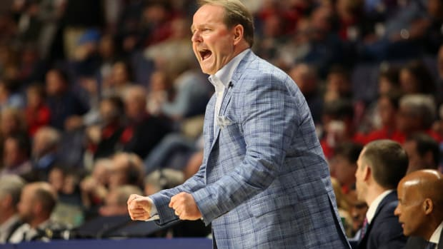 Mississippi Rebels head coach Kermit Davis reacts during the first half against the Alabama Crimson Tide at The Pavilion at Ole Miss. Mandatory Credit: Petre Thomas-USA TODAY Sports
