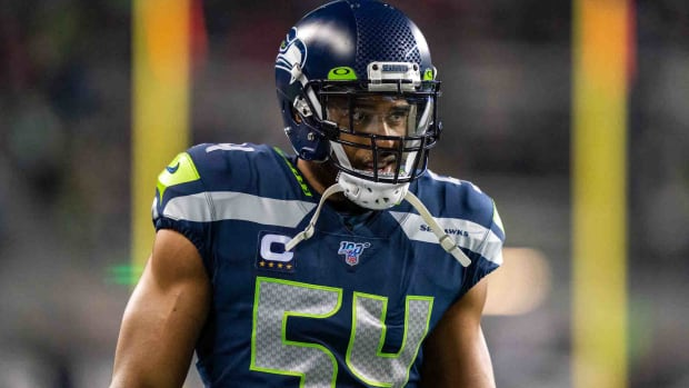 Seattle Seahawks middle linebacker Bobby Wagner (54) before the game against the San Francisco 49ers at CenturyLink Field.