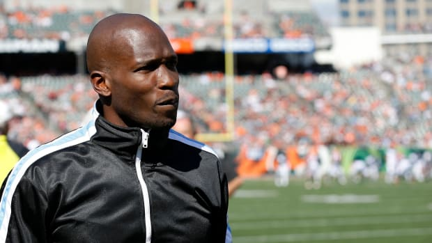 Former Bengals receiver Chad Johnson walks the sideline before the first quarter of the NFL Week 7 game between the Cincinnati Bengals and the Jacksonville Jaguars at Paul Brown Stadium in downtown Cincinnati on Sunday, Oct. 20, 2019. Jacksonville Jaguars At Cincinnati Bengals