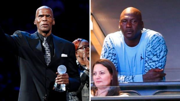 Split image of NBA Hall of Famers Robert Parish and Michael Jordan