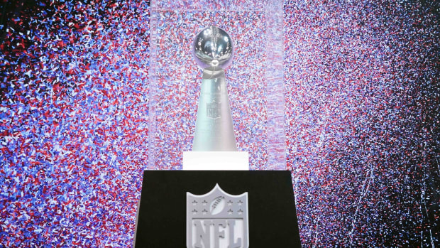 Feb 26, 2020; Indianapolis, Indiana, USA; Detailed view of the Super XLI Vince Lombardi Trophy to commemorate the Indianapolis Colts 29-17 victory over the Chicago Bears on Feb 4, 2007 at Dolphin Stadium in Miami Gardens, Fla. Mandatory Credit: Kirby Lee-USA TODAY Sports