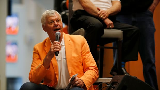 Former Bengals quarterback Ken Anderson tells a story from his playing days during the Legends Past and Present event benefitting the Andy and JJ Dalton Foundation and Ken Anderson Alliance at Paul Brown Stadium in downtown Cincinnati on Tuesday, April 30, 2019. Bengals Legends Past And Present