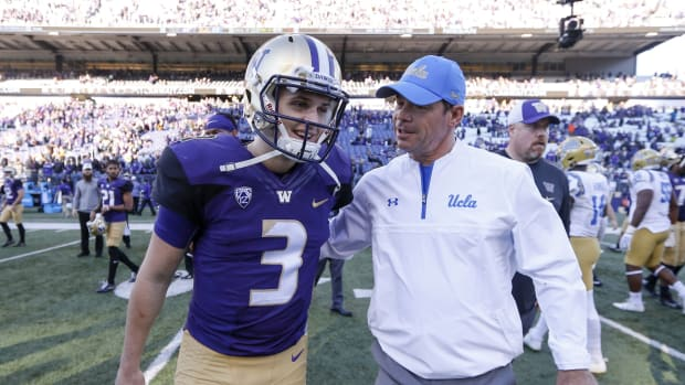 Jim Mora, shown as the UCLA coach and greeting ex-Washington QB Jake Browning, joins SI's All-American TV.