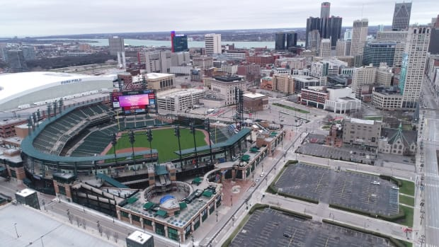 Aerial view of downtown Detroit, Comerica Park and Ford Field