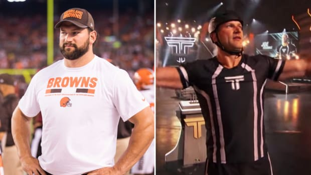 "Former Browns offensive lineman Joe Thomas competes on NBC's ""The Titan Games"""
