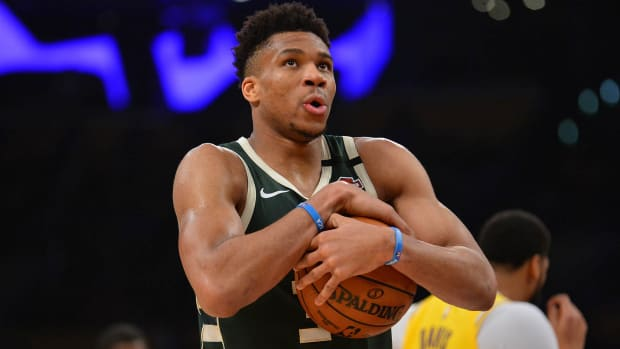 Giannis Antetokounmpo reacts against the Los Angeles Lakers.