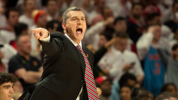 Feb 29, 2020; College Park, Maryland, USA; Maryland Terrapins head coach Mark Turgeon reacts during the first half against the Michigan State Spartans at XFINITY Center. Mandatory Credit: Tommy Gilligan-USA TODAY Sports