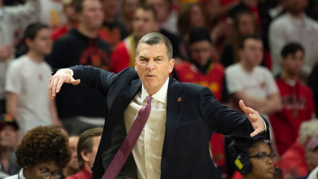 Feb 18, 2020; College Park, Maryland, USA; Maryland Terrapins head coach Mark Turgeon reacts during the first half against the Northwestern Wildcats at XFINITY Center. Mandatory Credit: Tommy Gilligan-USA TODAY Sports