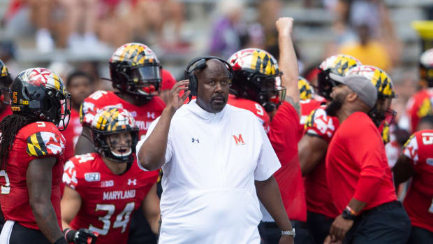 Sep 7, 2019; College Park, MD, USA; Maryland Terrapins head coach Michael Locksley looks onto the field during the second quarter against the Syracuse Orange at Capital One Field at Maryland Stadium. Mandatory Credit: Tommy Gilligan-USA TODAY Sports