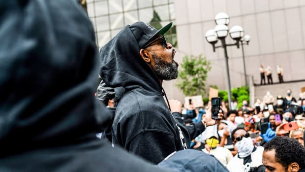 Stephen Jackson speaks at a protest in response to the police killing of George Floyd