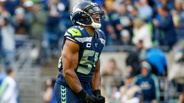 Seattle Seahawks middle linebacker Bobby Wagner (54) reacts after a sack against the Tampa Bay Buccaneers during the fourth quarter at CenturyLink Field.