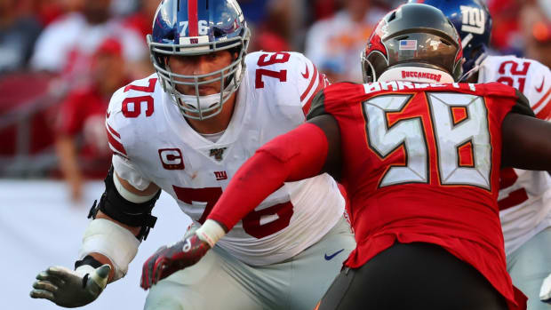 Sep 22, 2019; Tampa, FL, USA;New York Giants offensive tackle Nate Solder (76) blocks during the second half at Raymond James Stadium.