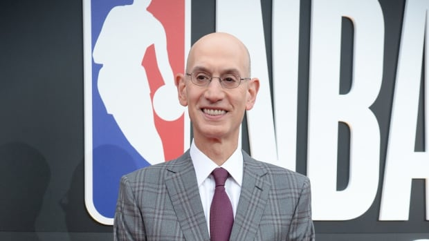 NBA commissioner Adam Silver arrives on the red carpet for the 2019 NBA Awards show at Barker Hanger.
