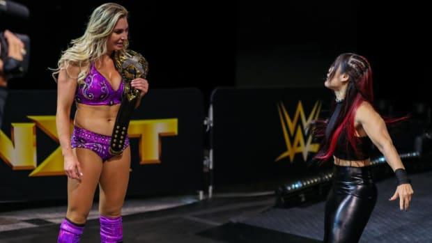 Charlotte Flair stares down Io Shirai on NXT